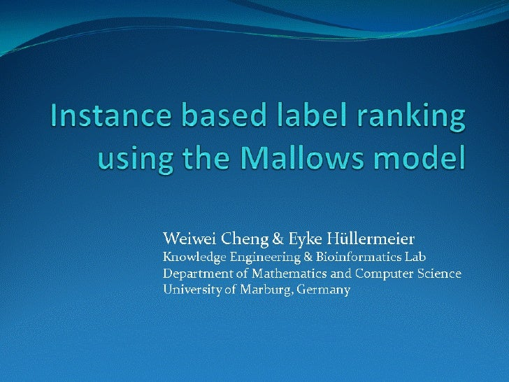 Instance based label ranking using the Mallows models