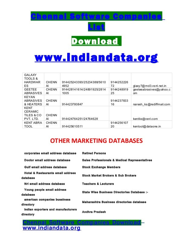 list of software companies in chennai Software solutions (chennai) pvt ltd view larger map: no 4, bharathi nagar, 4th street, off north usman road, t nagar, chennai - 600 017.
