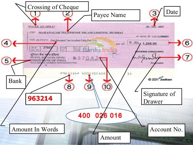 cheque drawer definition 1