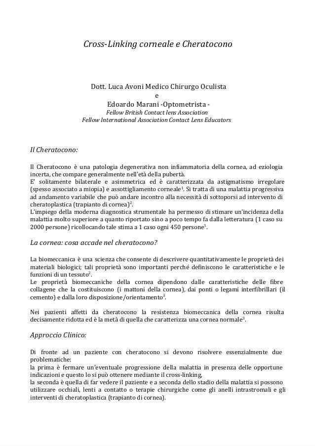 Cross-Linking corneale e Cheratocono  Dott. Luca Avoni Medico Chirurgo Oculista e Edoardo Marani -Optometrista Fellow Brit...