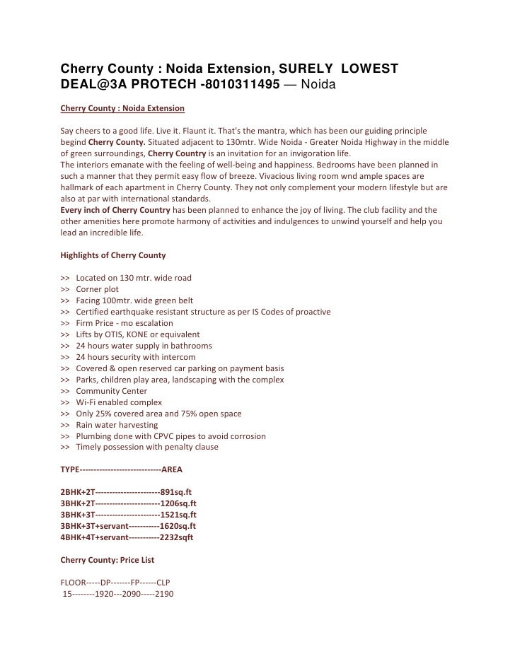 Cherry County : Noida Extension, SURELY LOWEST DEAL@3A PROTECH -8010311495 — Noida Cherry County : Noida Extension  Say ch...