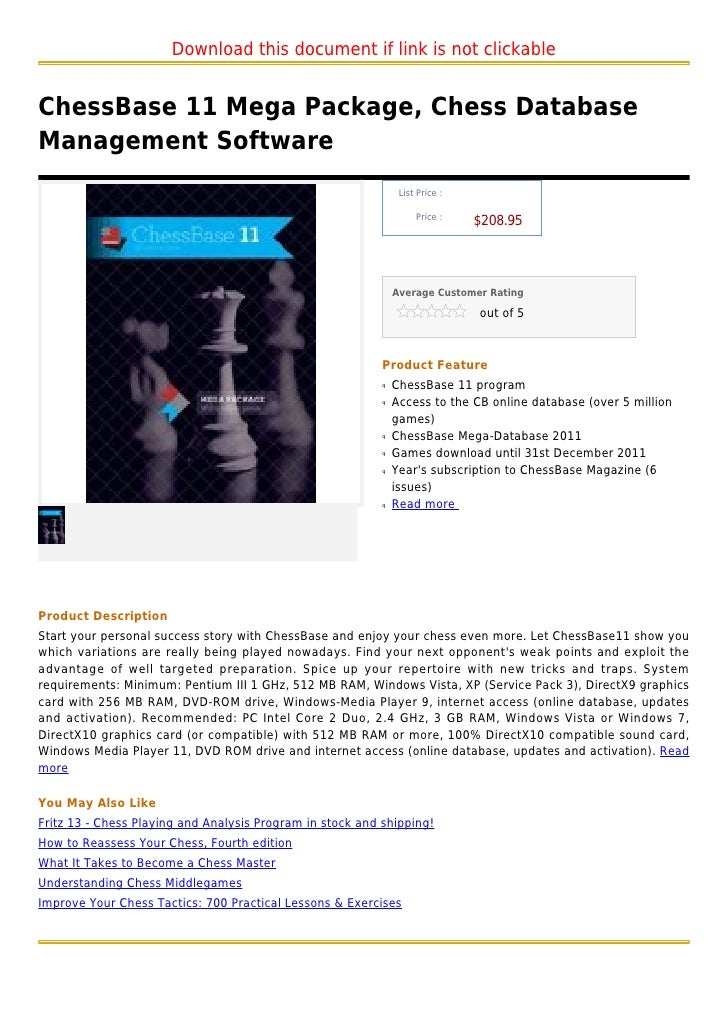 Chess base 11 mega package, chess database management software