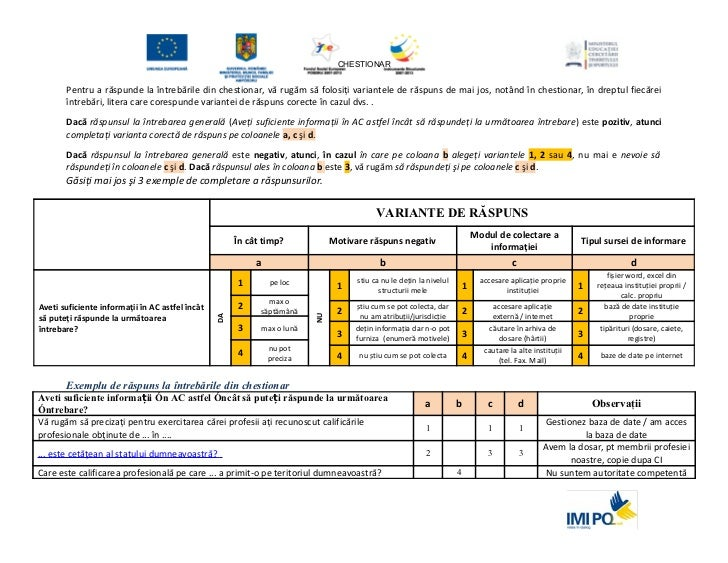 Chestionar IMI: disponibilitatea datelor despre lucratori