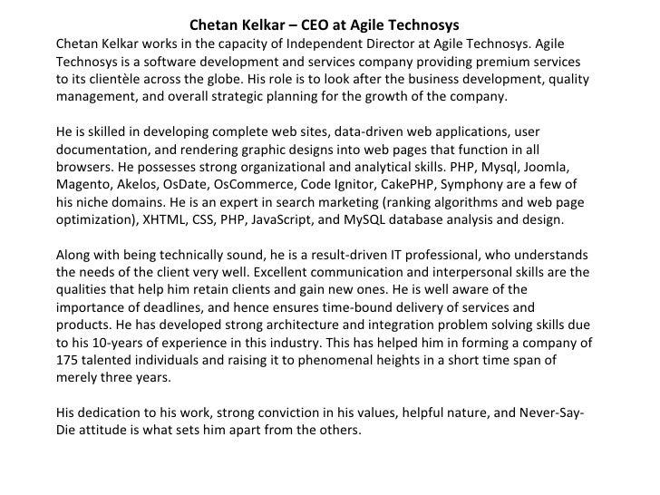 Chetan Kelkar – CEO at Agile Technosys Chetan Kelkar works in the capacity of Independent Director at Agile Technosys. Agi...