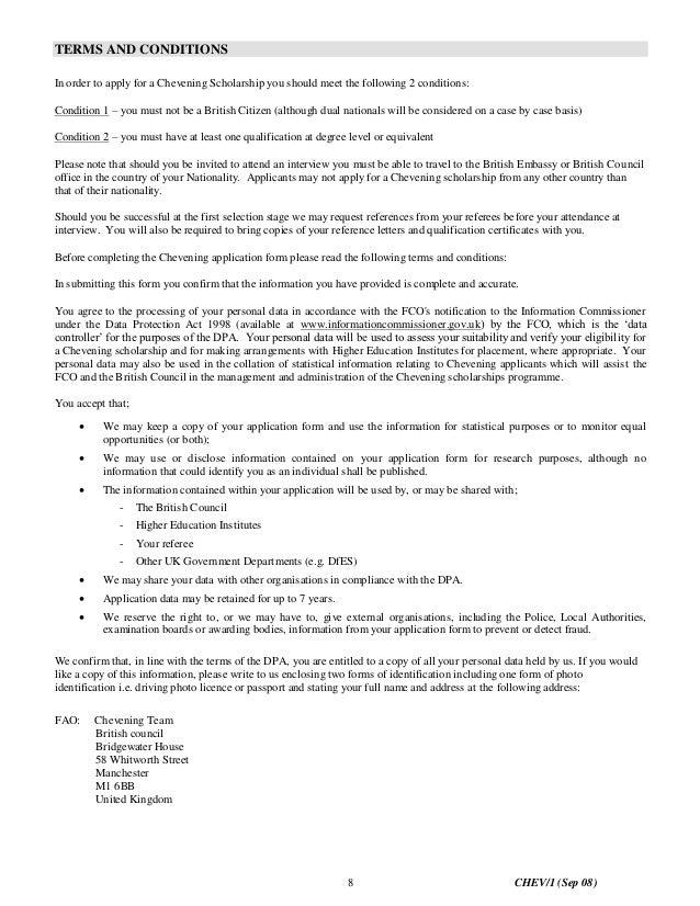 Chevening scholarship essay sample