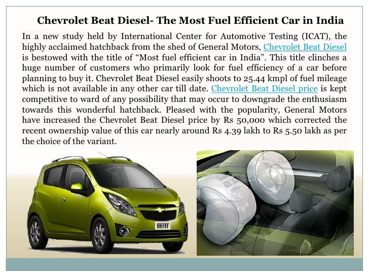 chevrolet beat diesel the most fuel efficient car in india. Black Bedroom Furniture Sets. Home Design Ideas