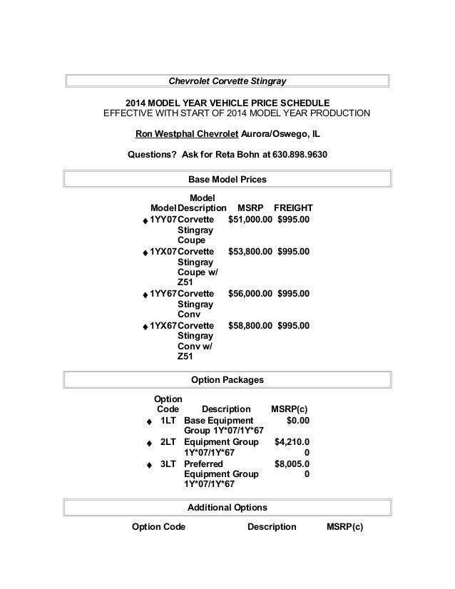 Chevrolet Corvette Stingray Pricing