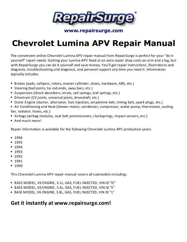 Chevrolet Lumina Apv Repair Manual 1990