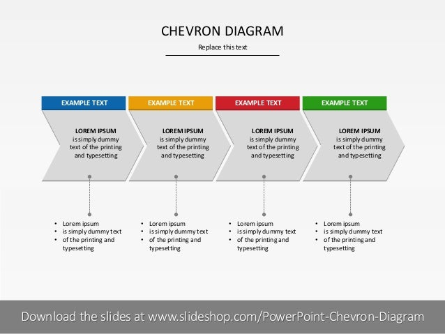 CHEVRON DIAGRAM Replace this text  EXAMPLE TEXT  EXAMPLE TEXT  LOREM IPSUM is simply dummy text of the printing and typese...