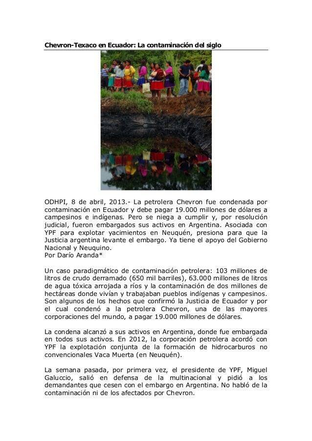 Chevron-Texaco en Ecuador: La contaminación del siglo