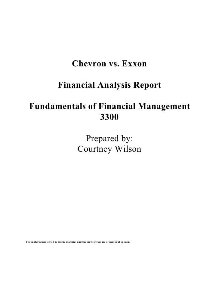 Chevron vs. Exxon                            Financial Analysis Report    Fundamentals of Financial Management            ...