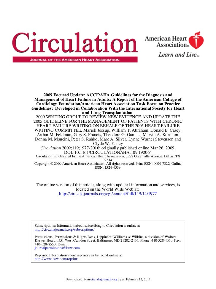 2009 Focused Update: ACCF/AHA Guidelines for the Diagnosis and Management of Heart Failure in Adults: A Report of the Amer...