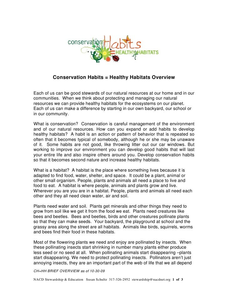 Conservation Habits = Healthy Habitats OverviewEach of us can be good stewards of our natural resources at our home and in...