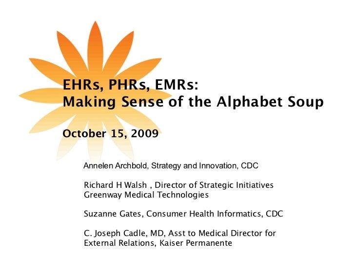 EHRs, PHRs, EMRs: Making Sense of the Alphabet Soup