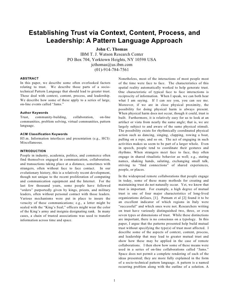 Establishing Trust via Context, Content, Process, and          Leadership: A Pattern Language Approach                    ...