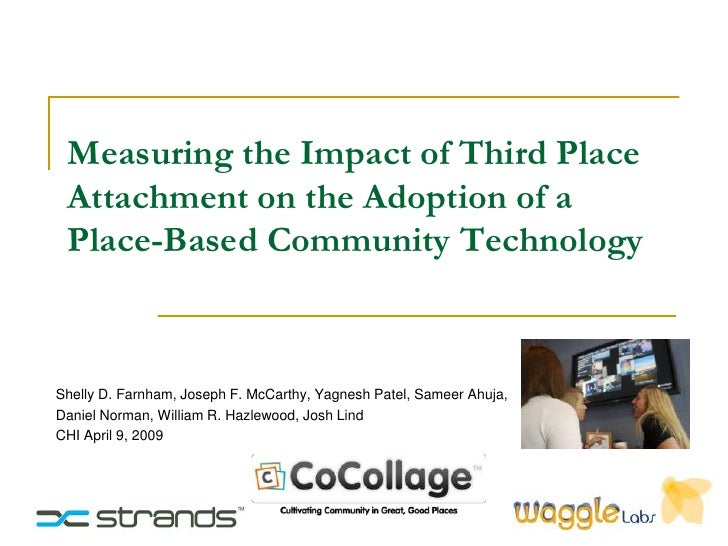 Measuring the Impact of Third Place  Attachment on the Adoption of a  Place-Based Community Technology    Shelly D. Farnha...