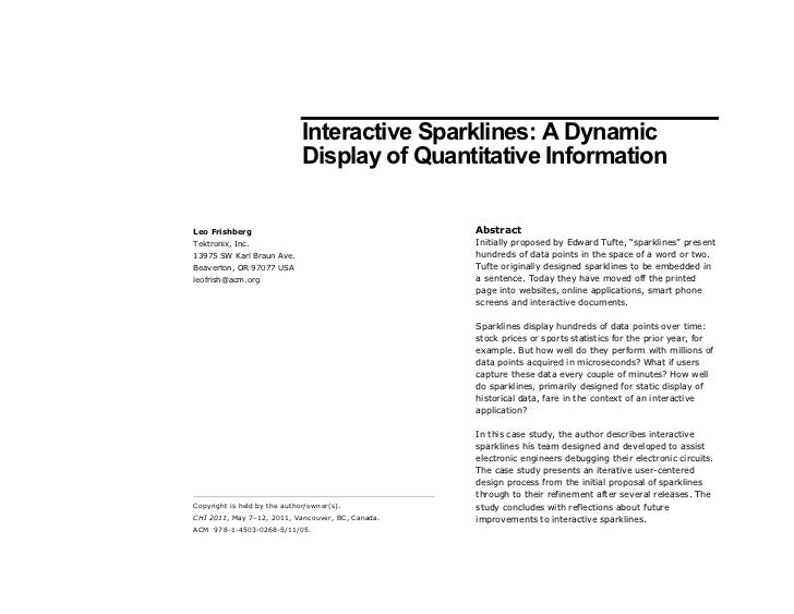 Chi2011 Case Study: Interactive, Dynamic Sparklines