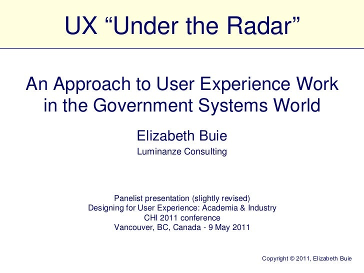 "UX ""Under the Radar"""