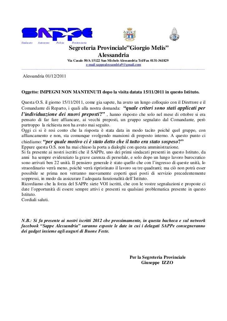 """Sindacato   Autonomo   Polizia      Penitenziaria                                  Segreteria Provinciale""""Giorgio Melis""""  ..."""
