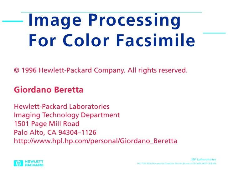 Image Processing For Color Facsimile