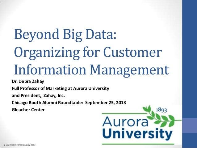 Copyright by Debra Zahay 2013 Beyond Big Data: Organizing for Customer Information Management Dr. Debra Zahay Full Profess...