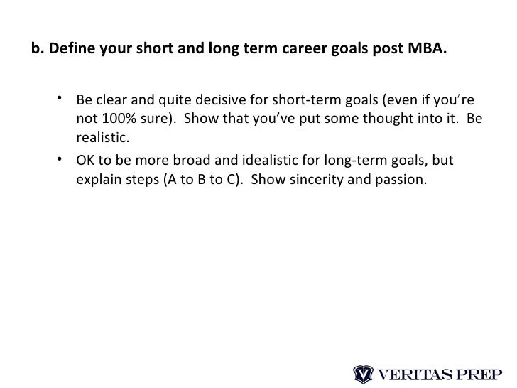 short term career goals mba essay