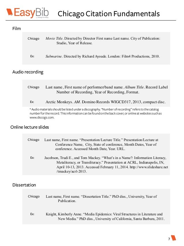 chicago style citation lecture Introduction this guide provides some basic examples of the chicago citation style it is based on the 17th edition of the chicago manual of style published in 2017.