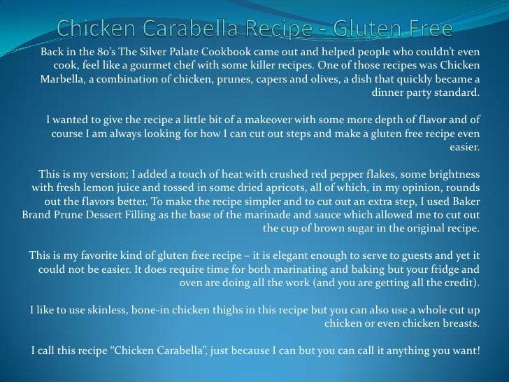 Chicken carabella recipe   gluten free