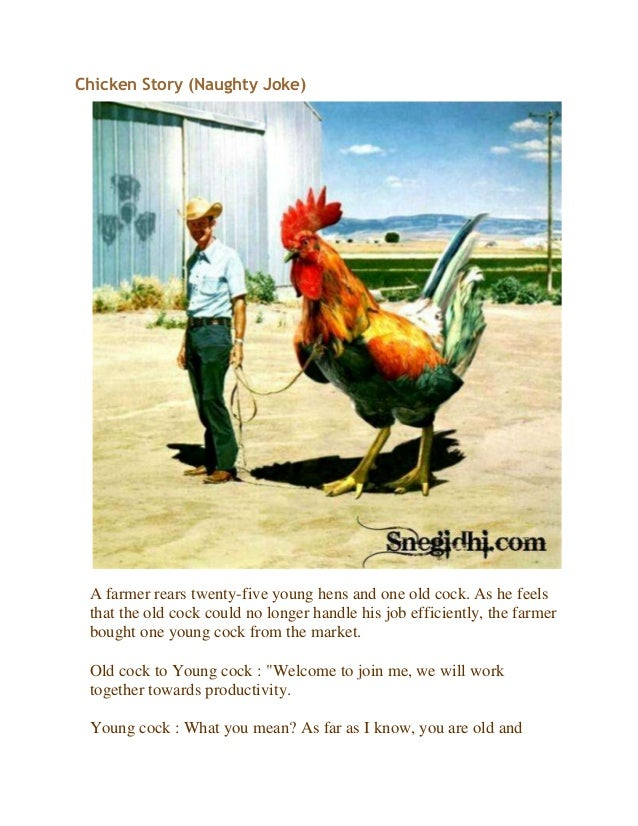 Chicken Story (Naughty Joke)A farmer rears twenty-five young hens and one old cock. As he feelsthat the old cock could no ...