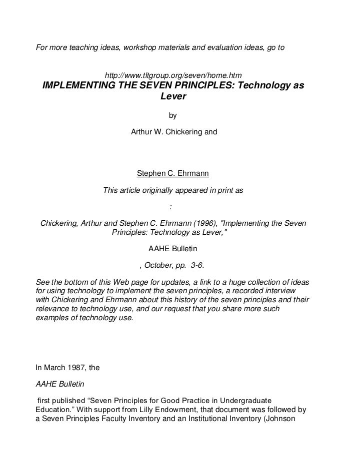 Chickering & gamson   7 principles of technology
