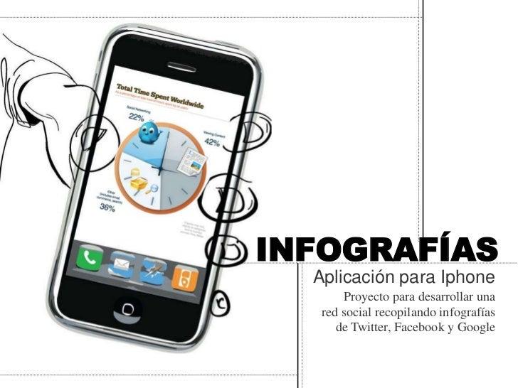 INFOGRAFÍAS  Aplicación para Iphone       Proyecto para desarrollar una   red social recopilando infografías      de Twitt...