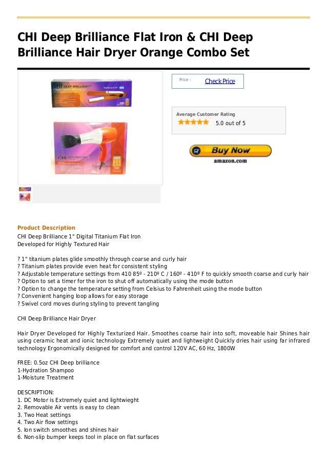 Chi deep brilliance flat iron & chi deep brilliance hair dryer orange combo set