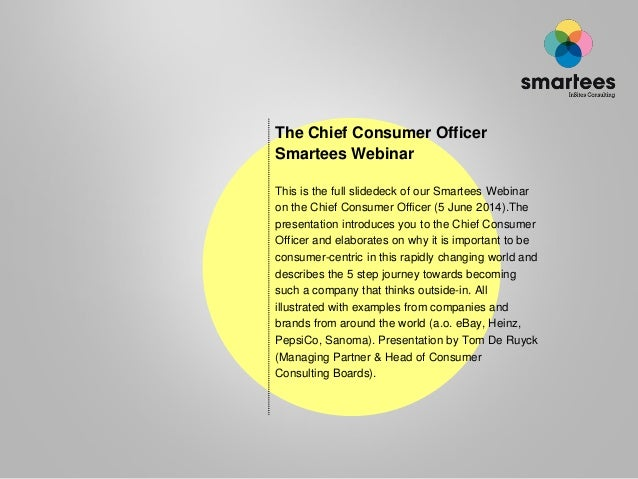 the Chief Consumer Officer Smartees Webinar