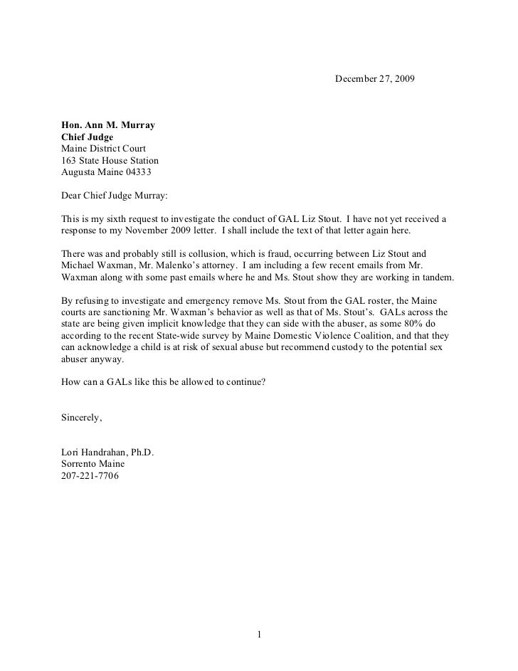 Sample Letter You Write To A Judge Sample Business Letter Letter
