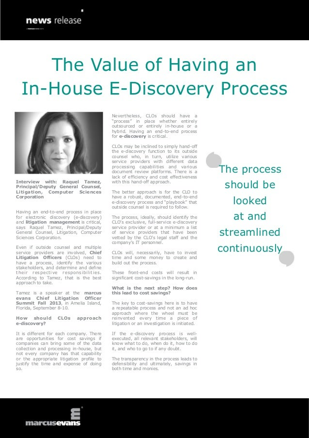 The Value of Having an In-House E-Discovery Process - Interview: Raquel Tamez, Computer Sciences Corporation -