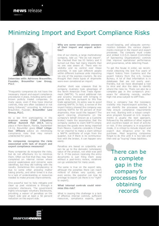 Minimizing import and export compliance risks interview adrienne br - Compliance officer interview ...