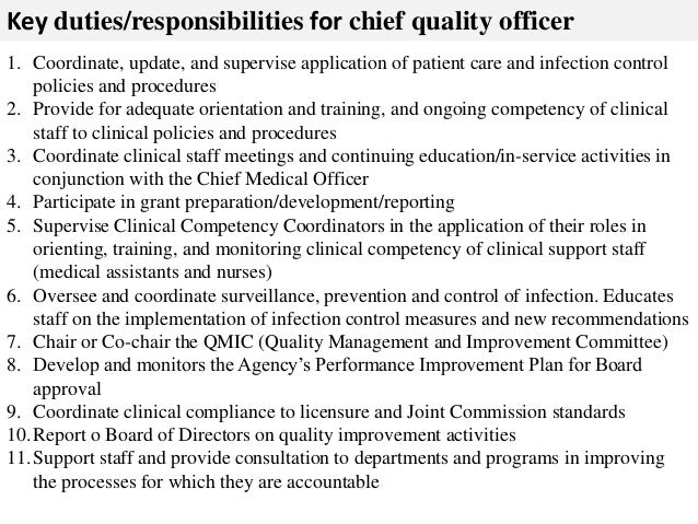 Chief quality officer job description for Training officer job description template