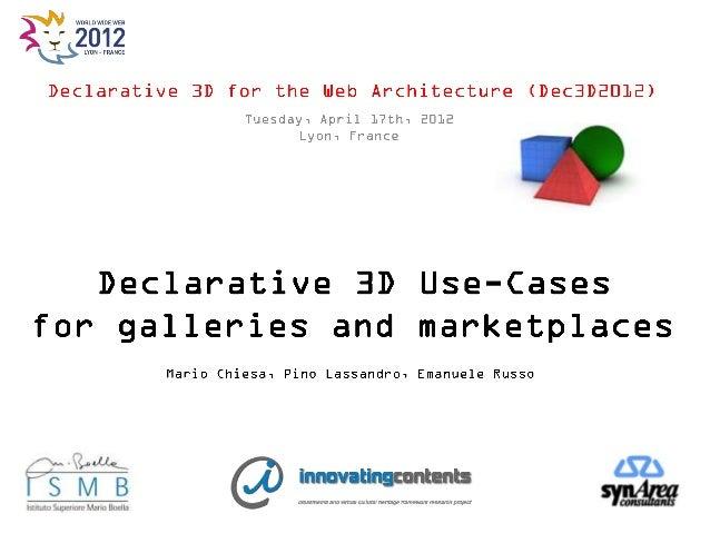 Declarative 3D use cases