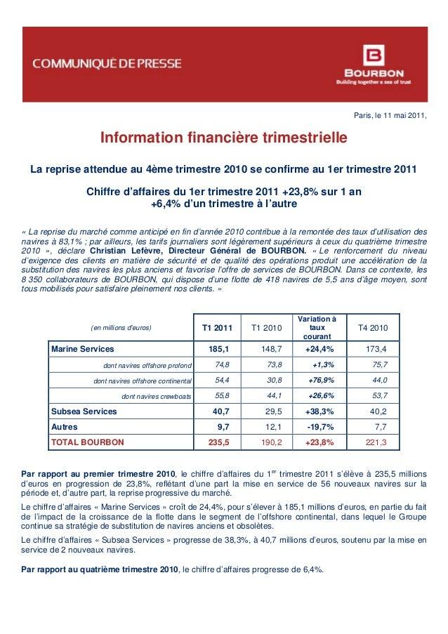 Paris, le 11 mai 2011, Information financière trimestrielle La reprise attendue au 4ème trimestre 2010 se confirme au 1er ...