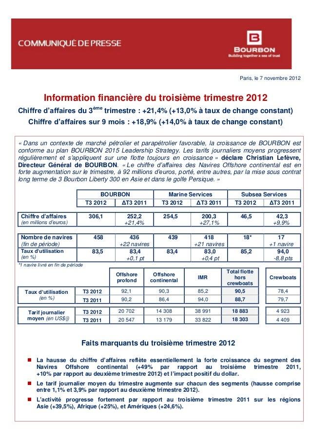 Paris, le 7 novembre 2012 Information financière du troisième trimestre 2012 Chiffre d'affaires du 3ème trimestre : +21,4%...