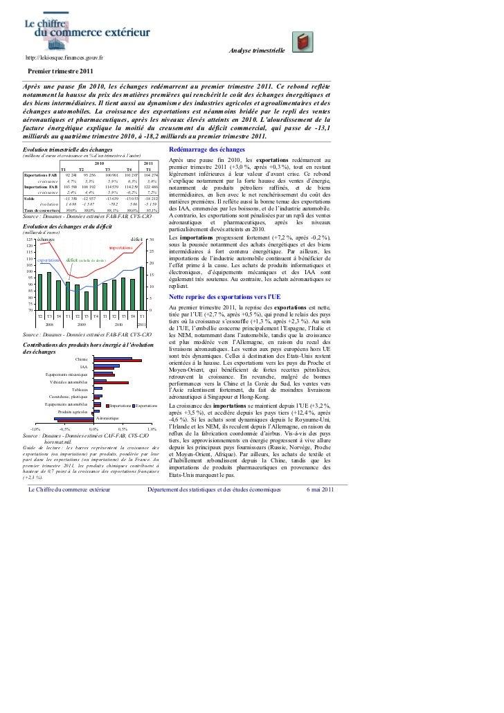 Analyse trimestrielle http://lekiosque.finances.gouv.fr  Premier trimestre 2011Après une pause fin 2010, les échanges redé...
