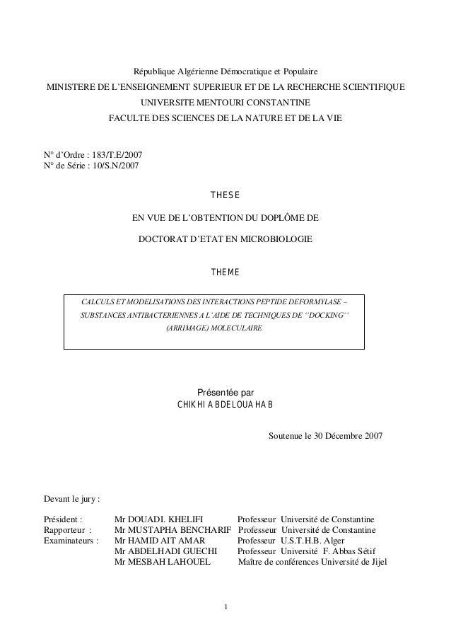 République Algérienne Démocratique et Populaire  MINISTERE DE L'ENSEIGNEMENT SUPERIEUR ET DE LA RECHERCHE SCIENTIFIQUE  UN...