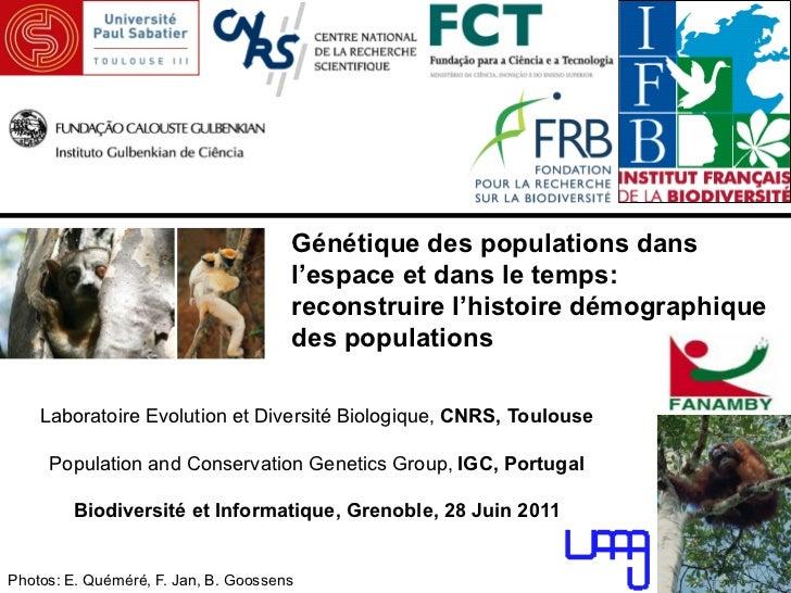 Génétique des populations dans                                      l'espace et dans le temps:                            ...