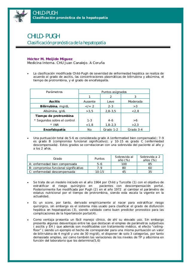 CHILD-PUGH  Clasificación pronóstica de la hepatopatía  CHILD- PUGH Clasificación pronóstica de la hepatopatía  Héctor M. ...