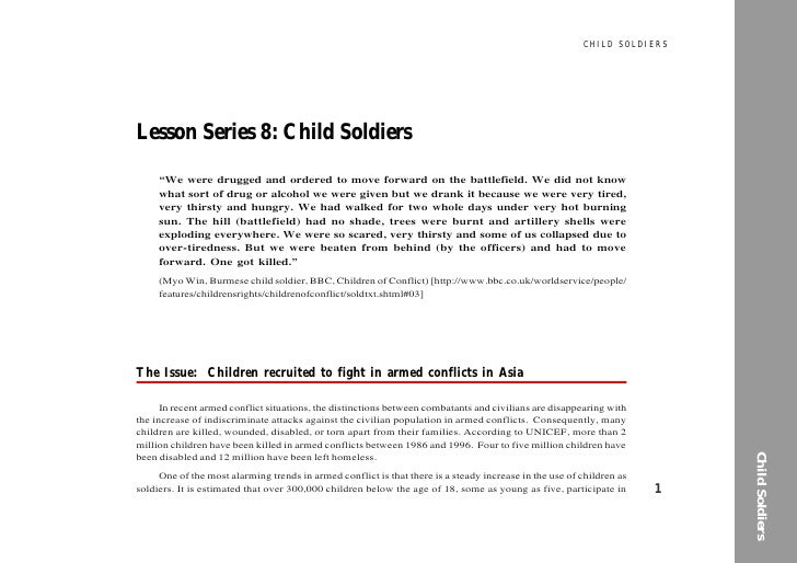 """CHILD SOLDIERS     Lesson Series 8: Child Soldiers      """"We were drugged and ordered to move forward on the battlefield. W..."""
