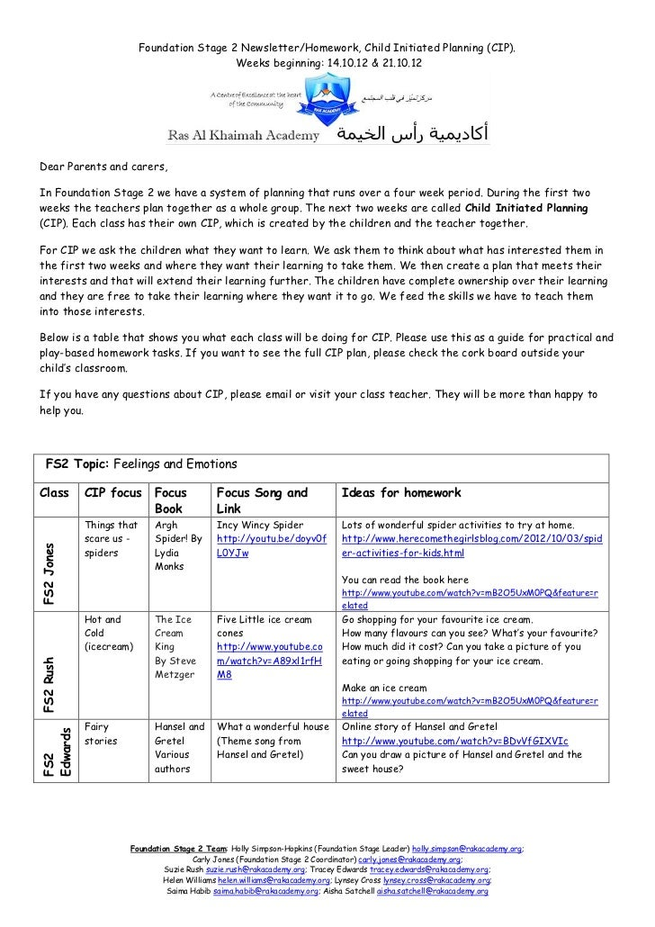 Child Initiated newsletter 14.10.12 and 21.10.12