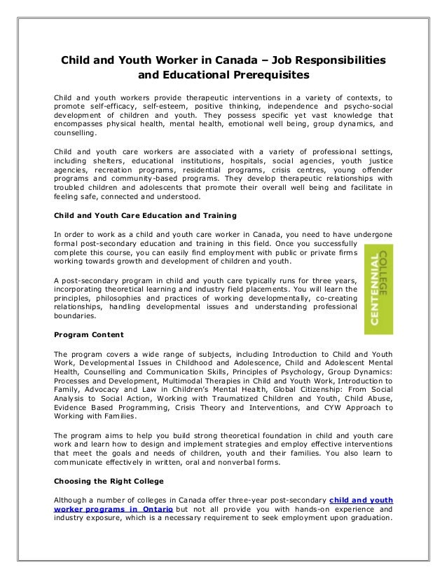 Child and youth worker in canada   job responsibilities and educational prerequisites