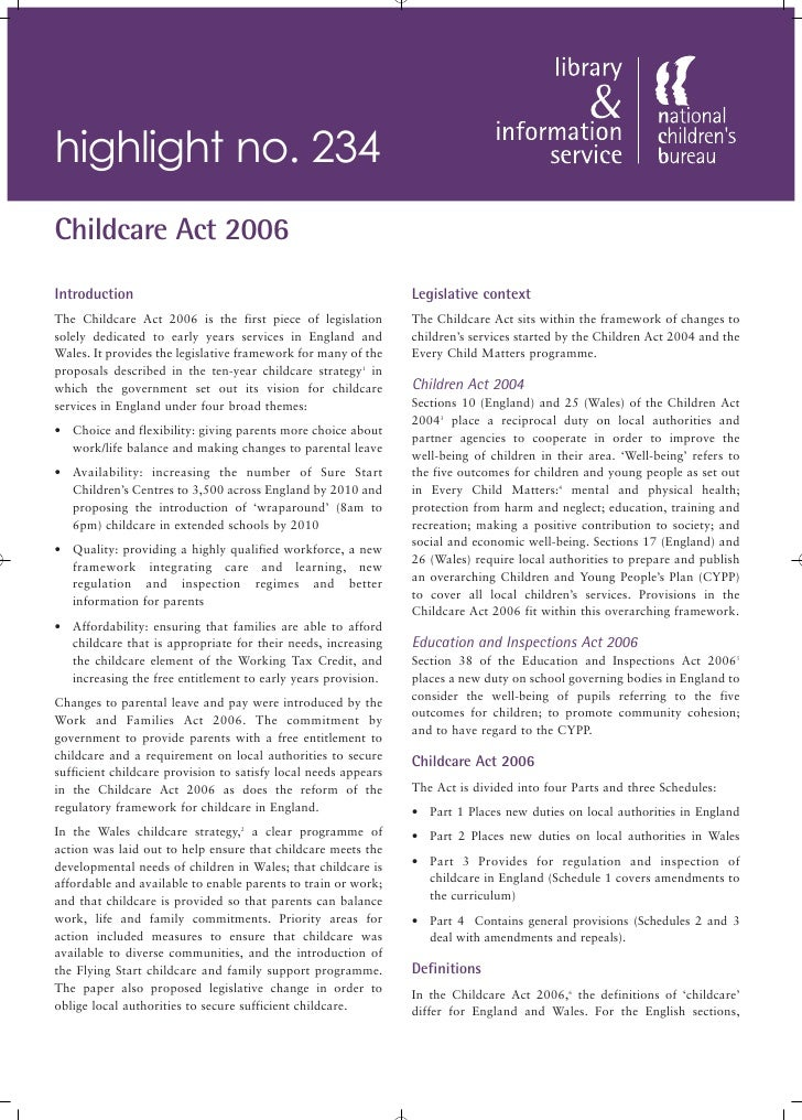 highlight no. 234 Childcare Act 2006 Introduction                                                    Legislative context T...