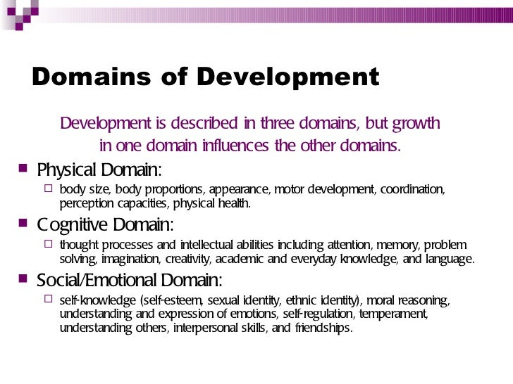 the three domains of development are