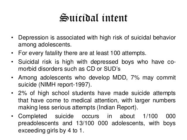 suicidal tendency among adolescents with adjustment disorder More than 90% of youth suicide victims have at least one major psychiatric disorder, although younger adolescent suicide among adolescents suicidal tendencies.